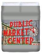 Seattle Public Market Center Clock Sign Duvet Cover