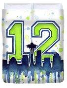 Seattle Seahawks 12th Man Art Duvet Cover by Olga Shvartsur