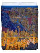 Seattle Skyline Abstract 4 Duvet Cover