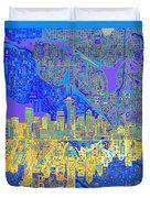 Seattle Skyline Abstract 6 Duvet Cover
