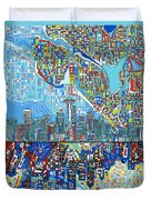 Seattle Skyline Abstract 7 Duvet Cover