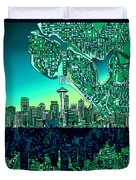 Seattle Skyline Abstract Duvet Cover