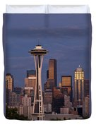Seattle Skyline And Space Needle With City Lights Duvet Cover