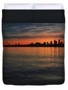 Seattle Skyline At Dawn Duvet Cover