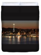 Seattle Skyline At Night By The Pier Panorama Duvet Cover
