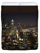 Seattle Skyline At Night Duvet Cover