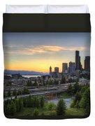 Seattle Skyline At Sunset Duvet Cover