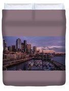 Seattle Skyline Bell Harbor Dusk Duvet Cover