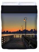 Seattle Skyline From The Pier At Sunrise Duvet Cover
