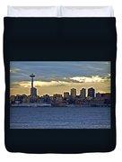 Seattle Skyline In Twilight Duvet Cover