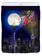 Seattle Skyline Duvet Cover by Methune Hively