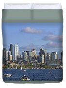 Seattle Skyline On Lake Union Duvet Cover