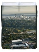 Seattle Skyline With Aerial View Of The Newly Renovated Husky St Duvet Cover