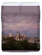 Seattle Skyline With Moonrise And Space Needle Duvet Cover