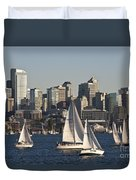 Seattle Skyline With Sailboats Duvet Cover