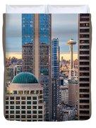 Seattle Space Needle Golden Sunset Light Duvet Cover