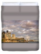 Seattle Waterfront Bathed In Golden Hour - Seattle Skyline - Puget Sound Washington State Duvet Cover