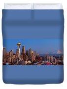 Seattle Winter Evening Panorama Duvet Cover