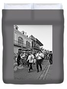 Second Line Parade Bw Duvet Cover