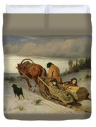 Seeing Off The Dead, 1865 Oil On Canvas Duvet Cover