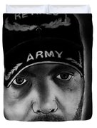 Self Portrait With Us Army Retired Cap Duvet Cover