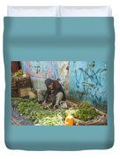 Selling Herbs In The Souk Duvet Cover