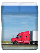 Semi Truck Moving On The Highway Duvet Cover
