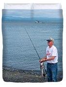 Senior Caught A Pollock In Kachemak Bay Off Homer Spit-alaska Duvet Cover