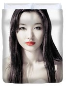 Sensual Artistic Beauty Portrait Of Young Asian Woman Face Duvet Cover
