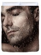 Sensual Portrait Of Man Face Under Pouring Water Duvet Cover