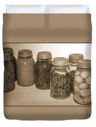Sephia Vintage Kitchen Glass Jar Canning Duvet Cover