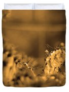 Sepia Cacti Close Up Duvet Cover