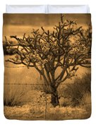 Sepia Cacti Roadside Duvet Cover