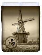 Sepia Colored No Tilting At Windmills Duvet Cover