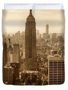 Sepia Empire State Building New York City Duvet Cover