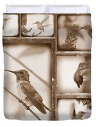 Sepia Hummingbird Collage Duvet Cover