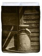 Sepia Photograph Of Vintage Creamery Can By The Old Homestead In 1880 Town Duvet Cover