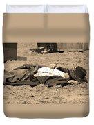 Sepia Rodeo Gunslinger Victim Duvet Cover