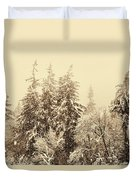 Sepia Winter Landscape Duvet Cover