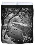 Serene Winter Stream Duvet Cover