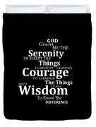 Serenity Prayer 5 - Simple Black And White Duvet Cover