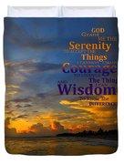 Serenity Prayer Sunset By Sharon Cummings Duvet Cover