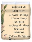 Serenity Prayer Typography On Calla Lilly Watercolor Duvet Cover