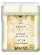 Serenity Prayer With Flowers And Butterflies Duvet Cover