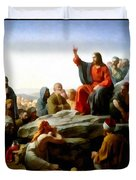 Sermon On The Mount Watercolor Duvet Cover by Carl Bloch