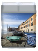 Sestri Levante And Boats Duvet Cover