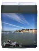 Sestri Levante With Blue Sky And Clouds Duvet Cover