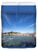 Sestri Levante With Clouds Duvet Cover