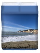 Sestri Levante With Waves Duvet Cover