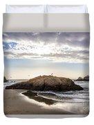 Setting Sun Against Rocks Near San Francisco Ca Cliff House Duvet Cover